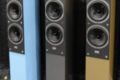 Audiovector - SR3 Avantgarde Arrete Speakers in Piano Nordic Blue, Piano Italian Grey & Piano Nubian Gold