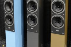 Audiovector - SR3 Avantgarde Arrete Speakers in Piano Nordic Blue, Piano Italian Grey & Piano Nubian Gold